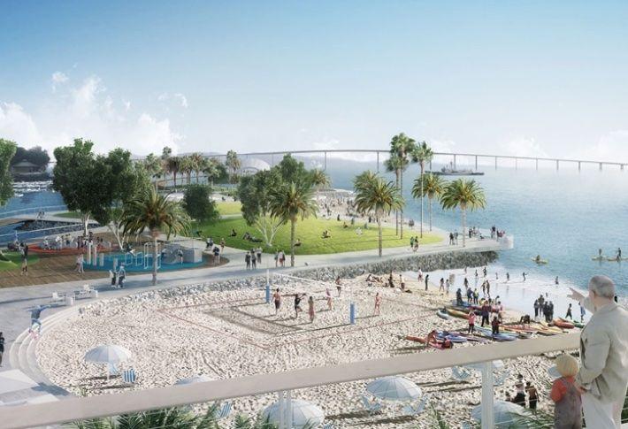A beach will be created at Embarcadero Marina Park