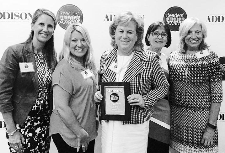 CREW Dallas won Addison Magazine's Favorite Business Networking Group during their readers' choice awards last week. Above is KDC's Tracie Frazier, Entos Design's Suzanne Brasuell, Dykema Cox Smith's Teresa Ereon Giltner, Bisnow's very own Karen Pierre and Hudson Peters Commercial's Janice Peters, (who also won Best Commercial Real Estate Firm).