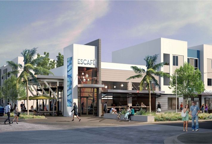 The Alexan Millenia's retail component creates a small town center for residents