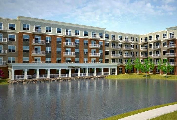 A rendering of Verandah, a 125-unit senior housing community in Hoffman States, IL by Kinzie Group