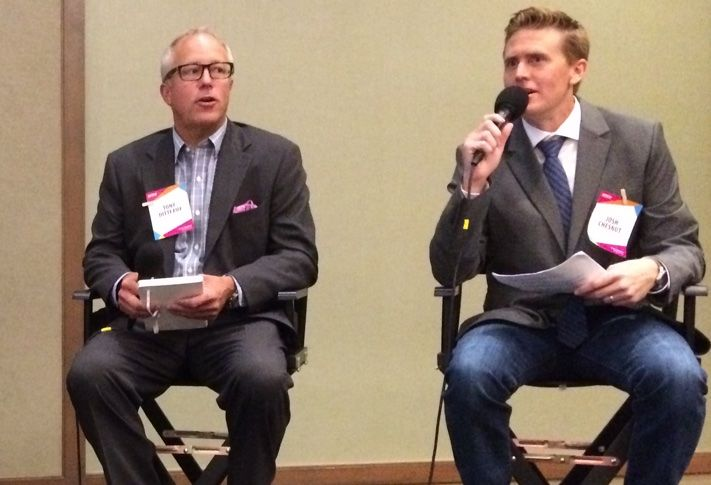 San Diego Construction & Development Forum moderator Josh Chesnut and Trammell Crow Residential president of Construction Tony Ditteaux