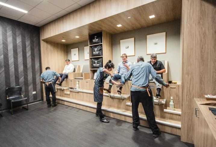 Shoe Drop, a luxury shoe shine and repair shop at 353 North Clark Street