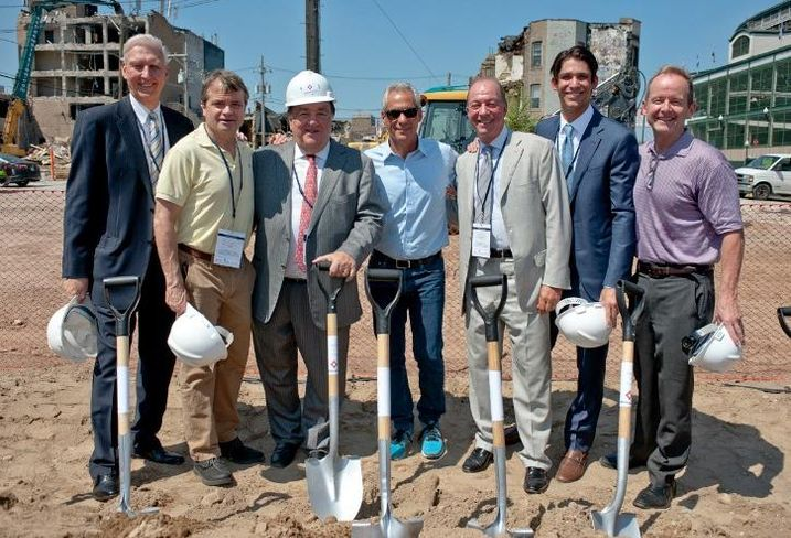 M&R Development Senior Partner Tom Moran; Congressman Mike Quigley; M&R Development President Tony Rossi, Sr; Mayor Rahm Emanuel; Bucksbaum Retail Properties CEO John Bucksbaum; Bucksbaum Retail Properties President Jason Olt and Alderman Tom Tunney (44th).