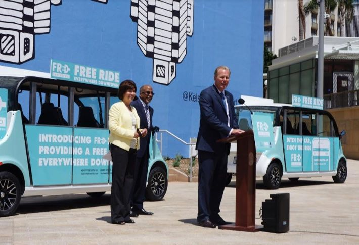 San Diego launches free Downtown shuttle service. Pictured (l-r) are Downtown San Diego Partnershippresident Kris Michell,Civic San Diego president Reese A. Jarrett, and San Diego Mayor Kevin L. Falconer arriving on FRED.
