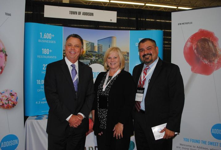Addison Mayor Todd Meier, economic development director Orlando Campos and Addison Airport deputy director Darci Neuzil