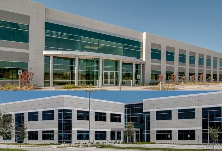 CBRE Capital Markets' Institutional Properties announces the sale of Dominion Legacy Office Center (below) in Plano and Lakeside II Office Center (above) in Lewisville. Developed by Myers & Crow Company and completed in 2014 and 2015, respectively, both properties are fully leased to single tenants and offer a combined total of 173,214 net rentable square feet and parking ratios that are well above the industry average.