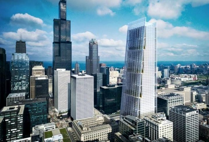 A rendering of a 958-foot tall tower Sterling Bay would build next to Chicago's Union Station if it wins the bid to redevelop the transit hub.