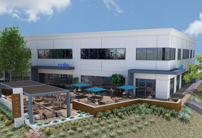Outdoor amenities at the Axiom biomed campus in University Towne Center, which includes and indoor/outdoor onsite restaurant.