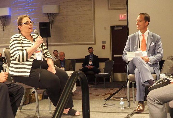 HVS managing director Anne Lloyd-Jones and RSM's Jason Sevier at Bisnow's Lodging Investment Series, Sept. 21, 2016