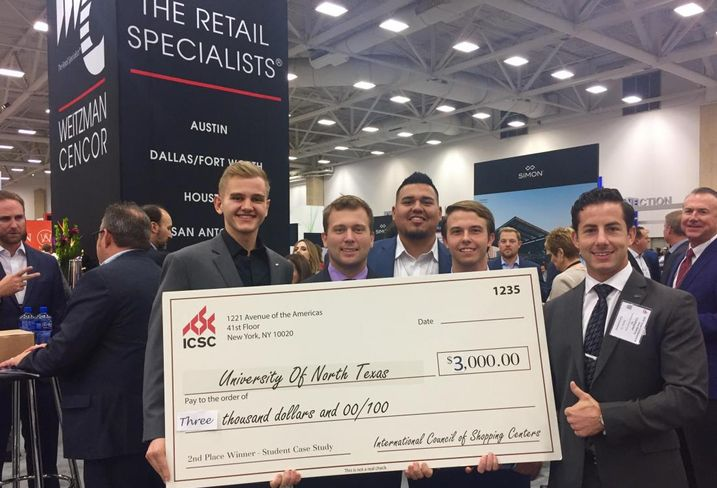 The Weitzman Group at ICSC Texas; here are the UNT real estate team, who placed second in the ICSC university case study competition. Weitzman's Blake Shipp (not pictured) and Daniel Morales (center) mentored the team. (Texas Tech took first).