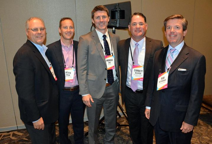 Stoneleigh Cos President Rick Cavenaugh, Crescent VP Kevin Crum, Greystar senior director Andrew Ord, Adolfson & Peterson Construction SVP Corbett Nichter and PLR Development president Rob Huthnance