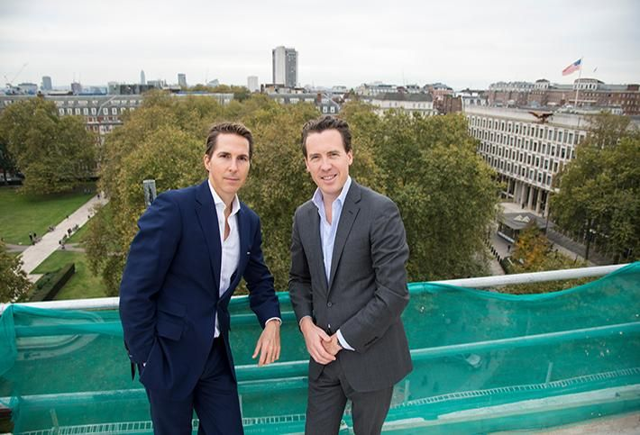 Finchatton Founders Alex Michelin & Andrew Dunn at Twenty Grosvenor Square's topping out ceremony