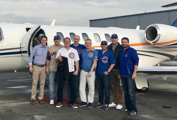 Members of CA Ventures executive team led by CEO Tom Scott (center) flew to Cleveland in a private jet to catch the World Series.