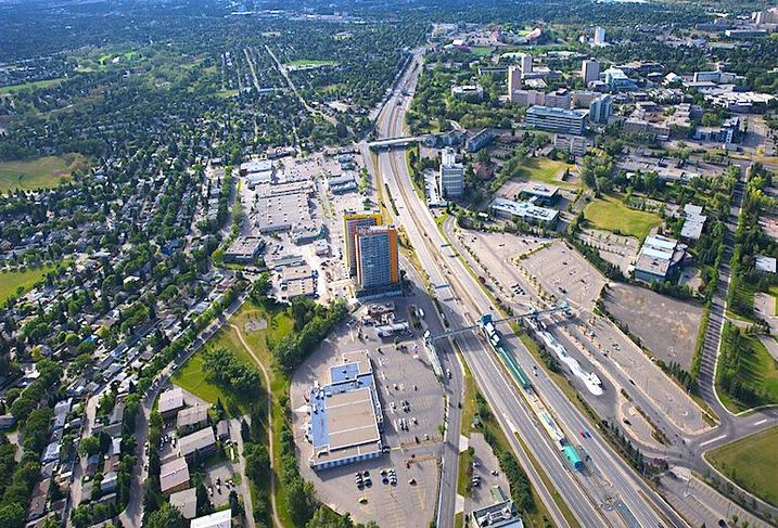 An aerial view of RioCan's Brentwood Village in Calgary