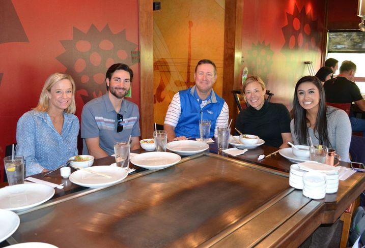 Younger Partners team celebrated Thanksgiving at Benihana. Here's Kathy Permenter, Sean Dalton, Trae Anderson, Claudia McLeod and Britnai Stegall.