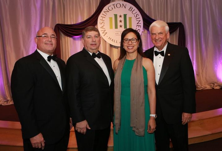 MedStar Health President/CEO Ken Samet,; Managing Partner of Deloitte in Greater Washington Gary Tabach; Gensler Co-CEO Diane Hoskins; GEICO CEO Tony Nicely, laureates of the Washington Business Hall of Fame 2016