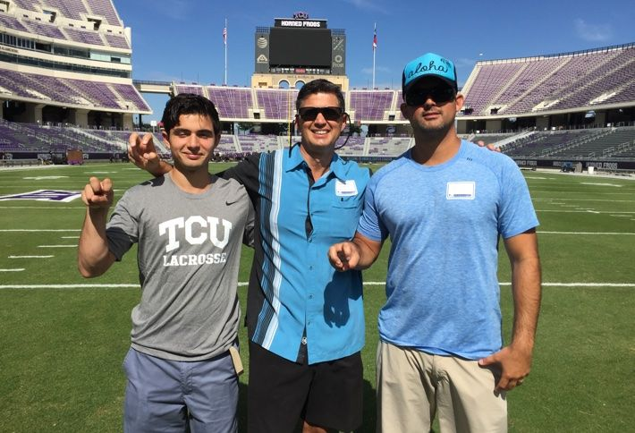 Joe Anfuso, center, with sons Gianni and Joseph at the Texas Christian University stadium prior to TCU vs Oklahoma game.
