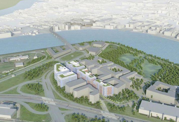 Rendering of Redbrick LMD's planned Poplar Point mixed-use development