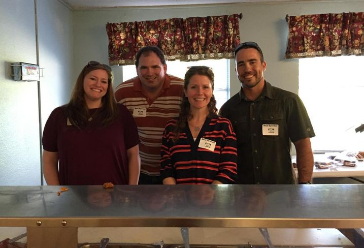 KWA Construction employees volunteer at Samaritan Inn, a program that helps homeless regain independence by providing case management services. From left, here's KWA admin director Holly Webster, assistant superintendent Sam Allen, HR manager Jessica Medlin and assistant superintendent Eduardo Harris.