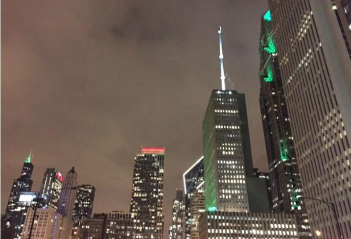 The Chicago skyline lighted up for the holidays.
