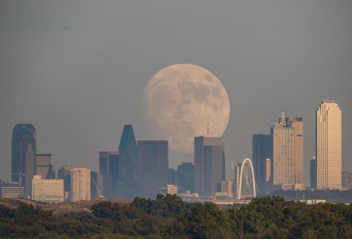 Moonrise over Dallas Skyline