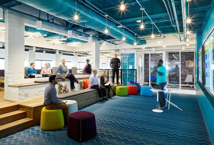 Collaborative space at Aviva's digital garage.