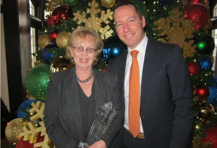 NGKF senior managing director Elise Couston with NAI Hiffman EVP Adam Roth