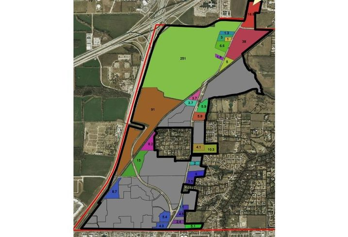 Fairview;  land is not spread out over hundreds of owners. Dunlap says one landowner has about 250 acres, another has 100, and others have decent chunks, negating the front end work it takes for developers to assemble tracts. (Each color on the above map denotes a different landowner, and the numeral indicates the amount of acres he or she owns.)