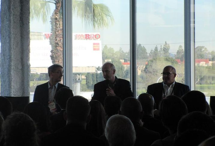 Chet Pipkin at The Evolution of Silicon Beach Loyola Marymount University president Timothy Law Snyder, Belkin CEO Chet Pipkin and Tishman Speyer managing director John Ollen