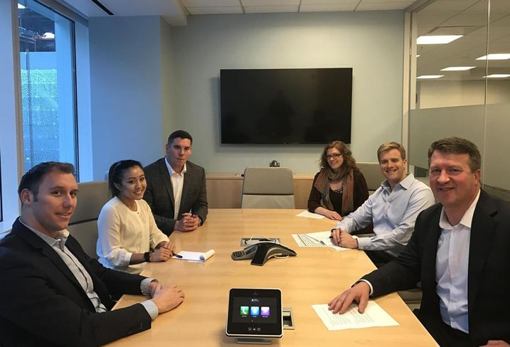Transwestern research analyst Jamie Mahoney, office coordinator Sasha Warren, vice president Peter Conte, administrative associate Trina Nagakura, associate vice president Zac Monsees and senior managing director and leader of the San Francisco office Jeff Moeller