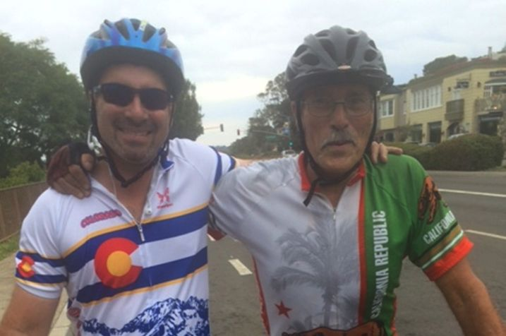 Pathfinder senior managing director Lorne Polger, snapped biking with friend Albert Gross.