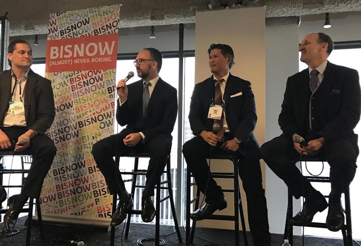 MBH Architects studio director David Delasantos and Bisnow event moderator along with Emerald Fund principal Marc Babsin, AGI Avant CEO Eric Tao and Polaris Pacific partner Paul Zeger