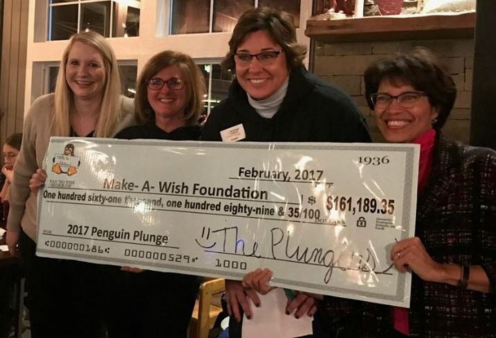 L-R: Ashley White, gift officer of community programs for Make-A-Wish Illinois; Linda Johnson, Penguin Plunge co-chairman; Tammy Barry, Penguin Plunge co-chairman and director of sales and marketing for Heritage Harbor Ottawa; and Stephanie Springs, CEO of Make-A-Wish Illinois.