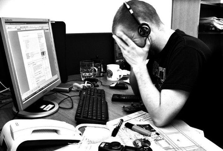 Frustrated, work, headphones, job, Millennial, open office