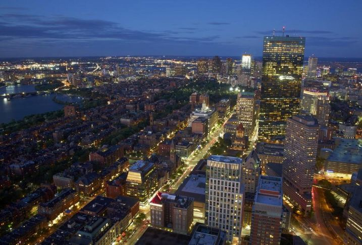 Top of the Hub's iconic view of Back Bay and beyond in Boston