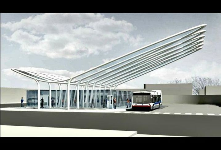 A rendering of the planned upgrade to the Belmont Avenue Blue Line subway station.