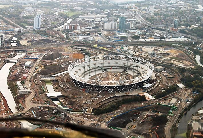 Stratford, London during the construction of the Olympic Stadium 2009