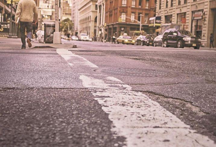 City crossing crossroad walking