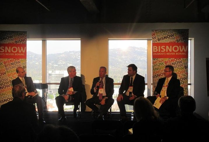 L.A. State of the Market:   Allen Matkins partner Alain R'bibo, CBRE managing director Patrick McRoskey, Wilson Meany director of development/retail Greg Whitney, Rising Realty Partners senior vice president Matthew Ahrens and Prologis president of the Southwest region Kim Snyder.