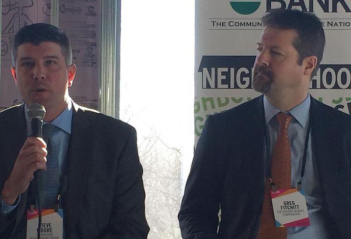 Steve Moore of Foundation Development Group (left) and Howard Hughes Greg Fitchitt