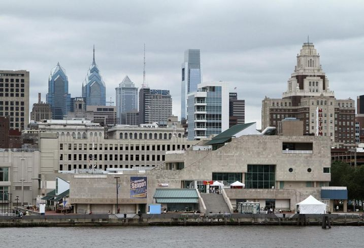 A portion of the concrete-heavy Philadelphia waterfront