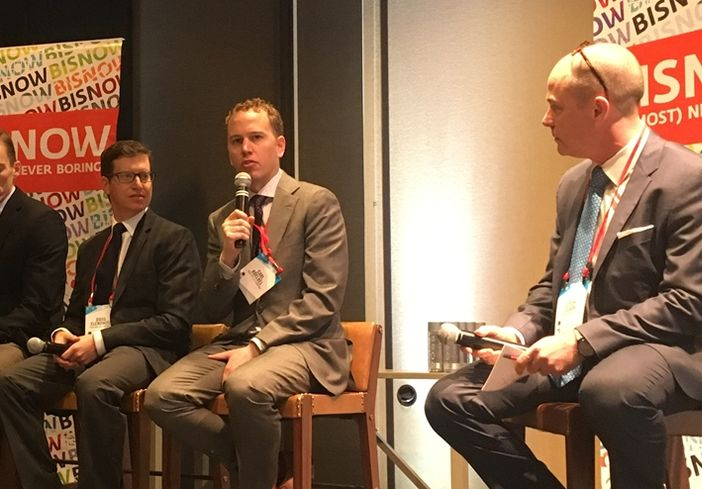 Trailbreak Partners principal Doug Elenowitz, Koelbel & Co VP Carl Koelbel, and BakerHostetler counsel Eben Clark, who moderated.