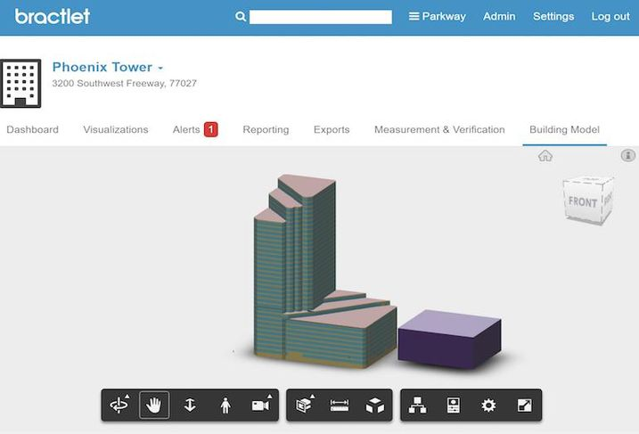 A screenshot of the building model or digital twin for Phoenix Tower, as seen with the Bractlet cloud software.