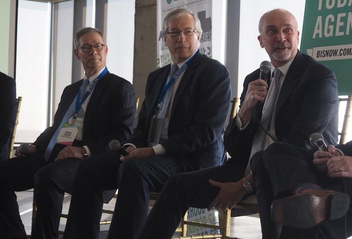 The Meridian Group president David Cheek, LCOR principal Bill Hard and Kettler CEO Bob Kettler at Bisnow's Tysons event, March 9, 2017.