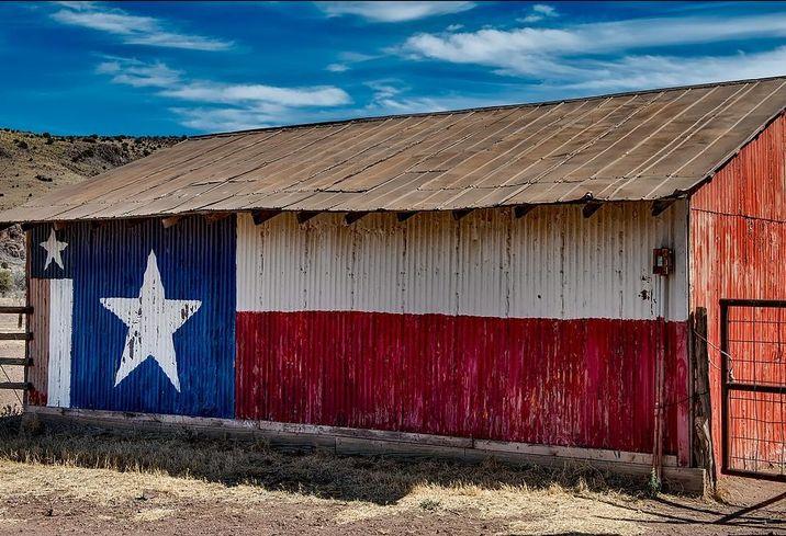 Texas barn texas flag