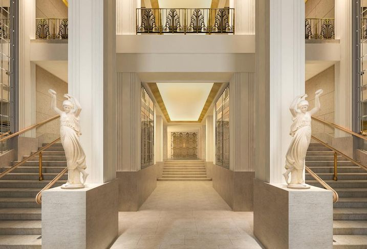 Rendering of the Lexington Avenue foyer of the renovated Waldorf Astoria in Manhattan