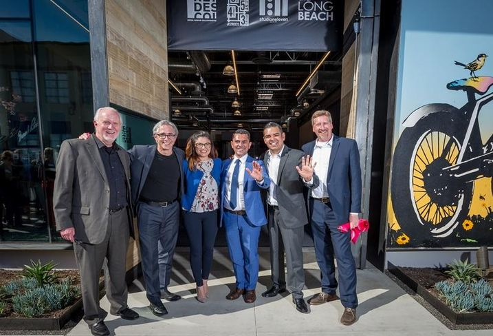 Retail Design Collaborative CEO Steve Ruth, Studio One Eleven Founding Principal Alan Pullman, First District Councilwoman Lena Gonzalez, Shooshani Developers managing member Tony Shooshani, Long Beach Mayor Robert Garcia and Studio One Eleven Senior Principal Michael Bohn,