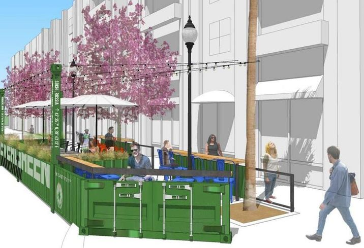 Rendering of Pine Avenue Parklet, Long Beach