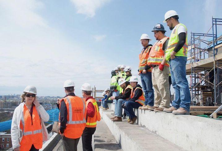 Construction workers at JBG 1221 Van