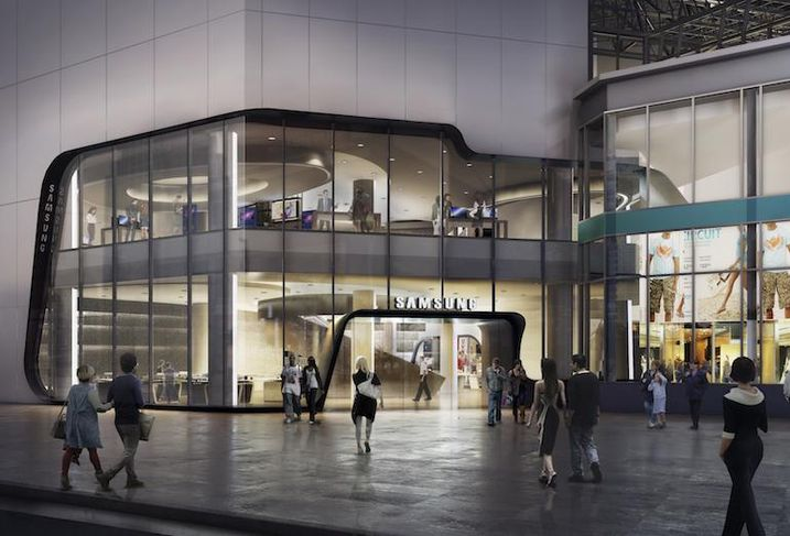 A rendering of the Samsung Experience Store planned for CF Toronto Eaton Centre